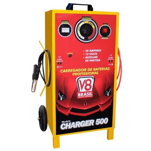 Carregador de Bateria Profissional 50A Bivolt com Auxiliar de Partida